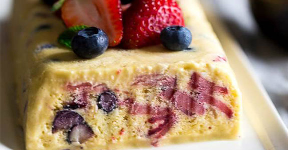 Lemon Honey Semifreddo With Berries