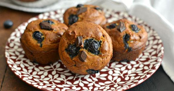 Pumpkin Blueberry Cashew Chocolate Chip Muffins