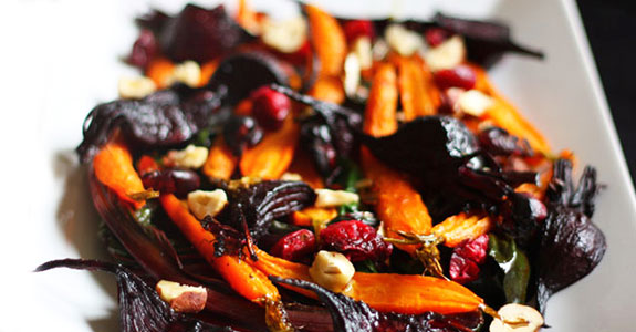 Roasted Root Vegetable Salad With Wilted Chard