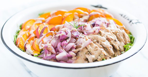 Rosemary Grilled Chicken and Peach Salad With Pecan Vinaigrette