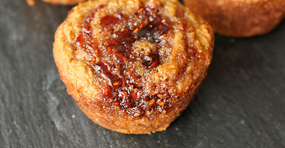 Strawberry Jam Swirled Banana Muffins