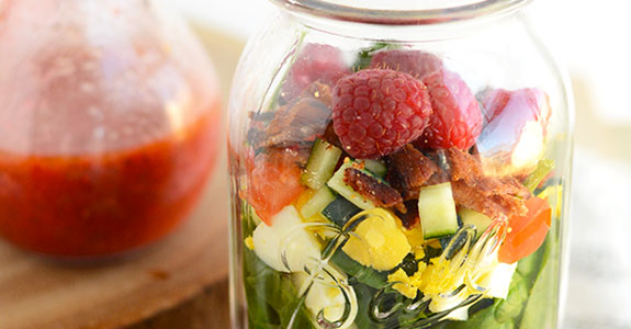 Strawberry Spinach Mason Jar Salad