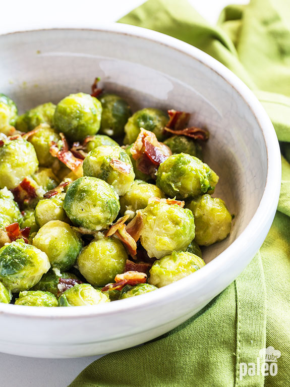 Warm Brussels sprout salad with mustard vinaigrette goes great with just about any protein – especially a nice pork loin. The yummiest!