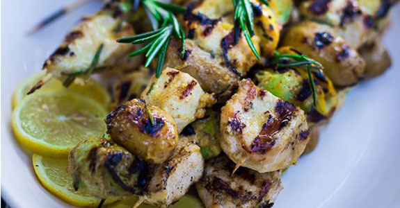 Grilled Leek, Potato, and Chicken Skewers
