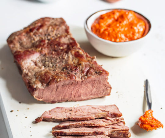 This Romesco sauce adds a nutty-sweet pepper zing to your steak. Perfect for entertaining!