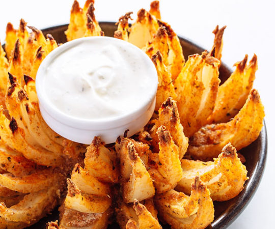 This is amazing! It is a baked version of the classic blooming onion and tastes just as good :)
