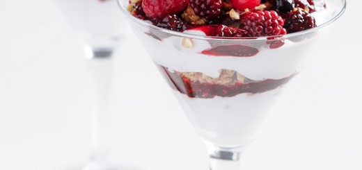Breakfast granola & berry parfait is the perfect meal: crunchy, fruity, tart, creamy, and satisfying.