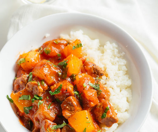 Our beef tagine, a North African-style stew, features tender beef, succulent butternut squash, and exotic cinnamon-garlic flavors. If you have never had this, you need to try it! It will become one of your household favorites.
