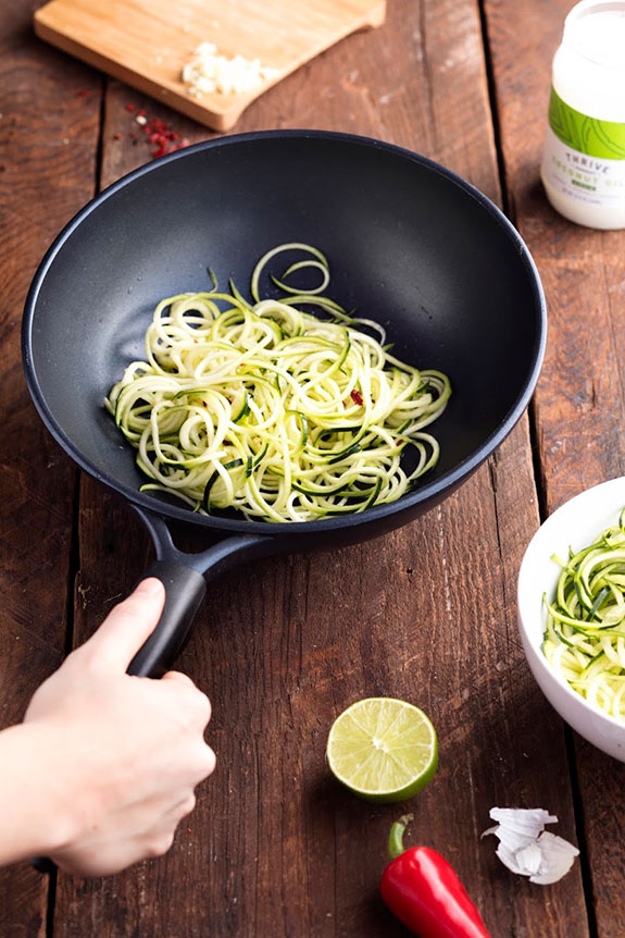 This is the best zucchini noodle dish I have ever had! The wok-fried zucchini noodles pair perfectly with the spicy bone broth. You need to try this.