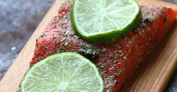 Black Garlic and Lime Cedar Plank Salmon