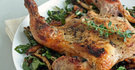 Cornish Game Hens With Shiitake and Chard