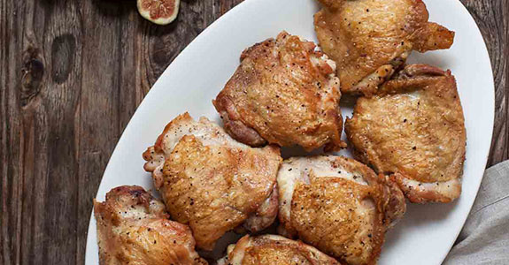 Crispy Chicken With Fig and Shallot Compote