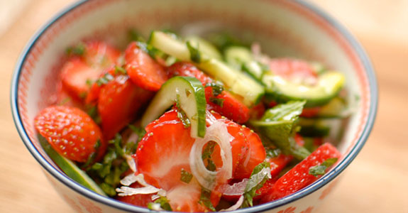 Cucumber, Shallot, and Strawberry With Mint and Passion Fruit Dressing