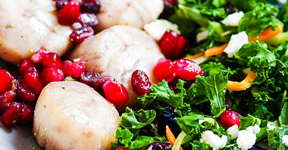 Easy One Pan Maple Balsmic Glazed Scallops With Pomegranate