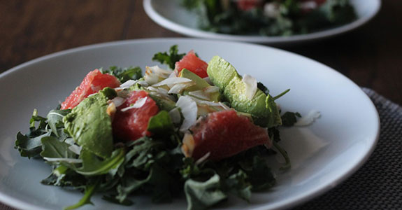 Grapefruit, Avocado, and Toasted Coconut Salad