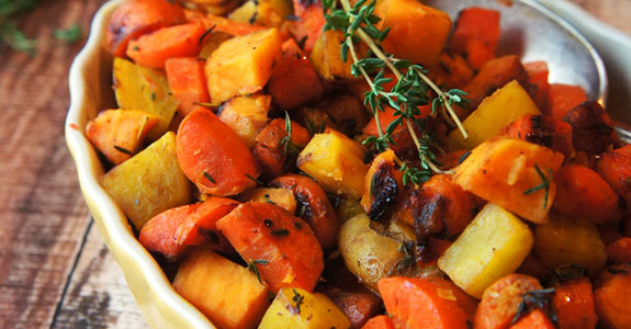 Grapefruit and Thyme Glazed Root Vegetables