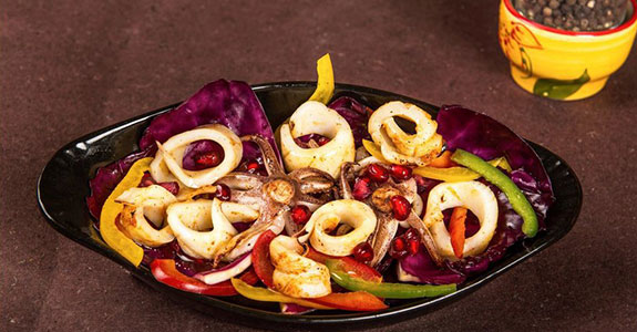 Grilled Squid Salad With Pomegranate Vinaigrette