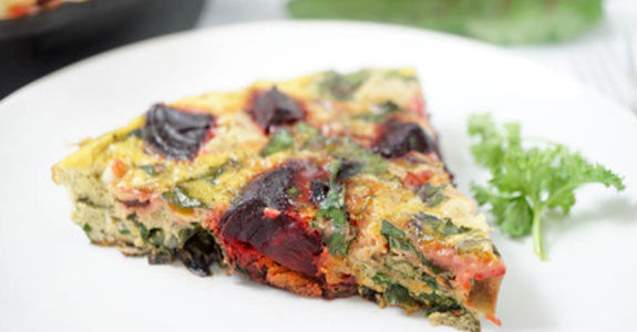 Herb, Beet, and Beet Green Frittata