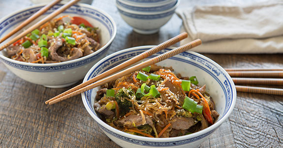 Korean Inspired Beef and Vegetable Noodle Bowl