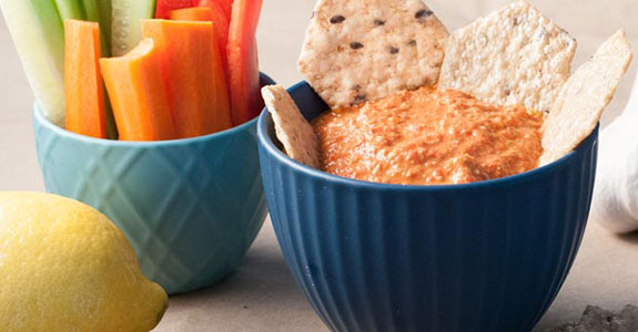 Lemon Walnut Roasted Red Pepper Dip