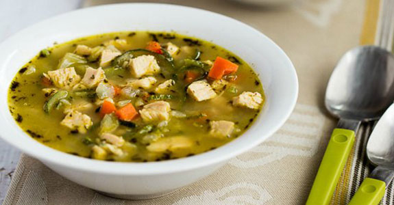 Low Carb Turkey Soup With Zucchini Noodles