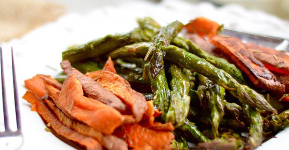 Mustard and Rosemary Asparagus and Sweet Potatoes