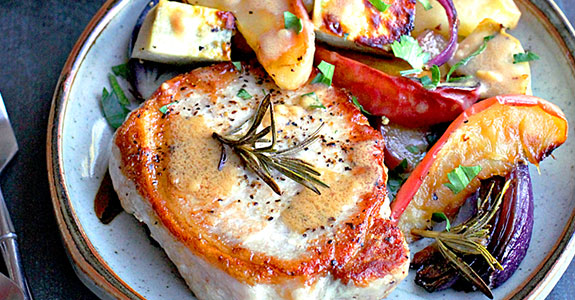 Pan Fried Pork Loin With Roasted Sweet Potatoes and Apples