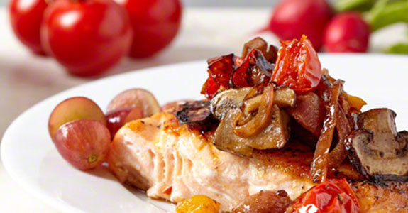 Pan Seared Salmon With Red Seedless Grapes