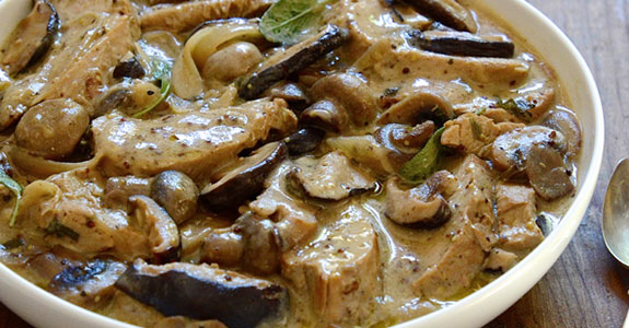Pork and Shallot Casserole With Sage and Mushrooms