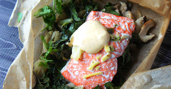 Salmon, Shittakes, and Chard in Parchment