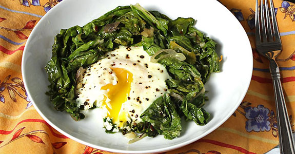 Sauteed Chard With Baked Eggs