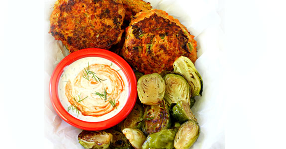 Sweet Potato Salmon Cakes With Creamy Dill Sriracha Sauce