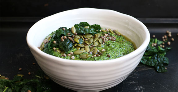 Tuscan Kale, Hemp, and Pumpkin Seed Pesto