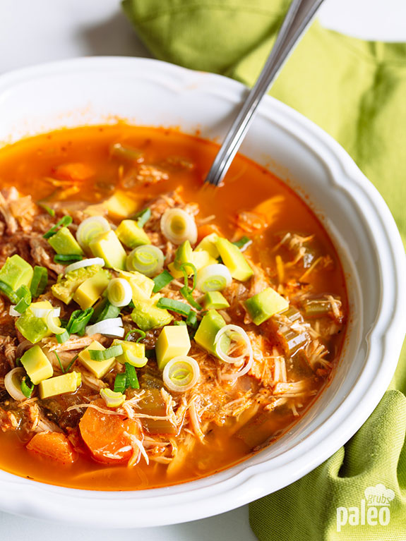 Skip the tacos and instead go for a bowl of healthy, Paleo slow cooker taco soup instead! This soup is so good. Love it.