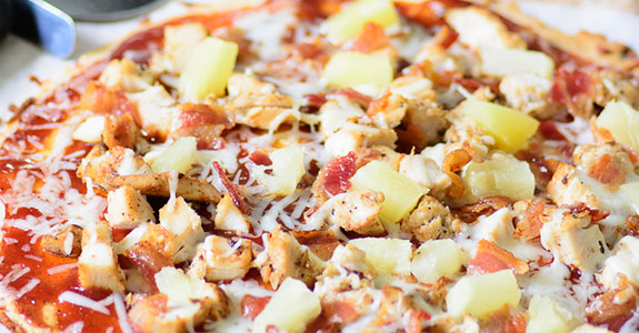 BBQ Chicken, Bacon, and Pineapple Flatbread