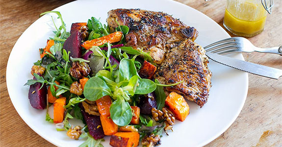 Beetroot and Pumpkin Salad With Oregano Garlic Chicken