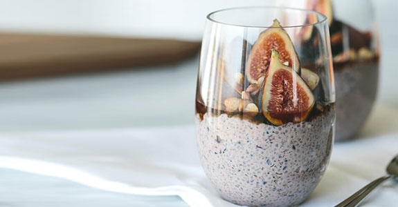 Blueberry Chia Pudding With Figs, Hazelnuts, and Maple Syrup