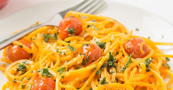 Butternut Squash Noodles With Pesto and Roasted Tomatoes