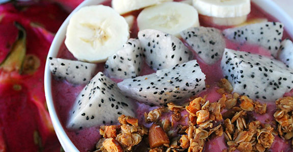 Fresh Dragonfruit Strawberry Acai Bowl