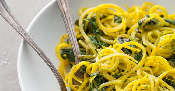 Golden Beet Noodles With Beet Greens and Cilantro Tahini Sauce