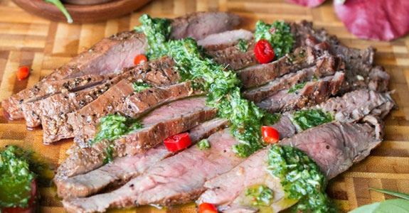 Grilled Flake Steak With Thai Style Chimichurri