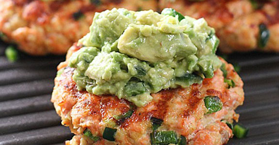 Grilled Salmon Burgers With Avocado Salsa