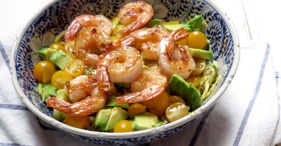Grilled Shrimp Over Zoodles With Pistachio Pesto