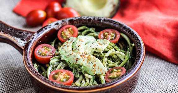 Pesto Zucchini Pasts With Tomatoes and Avocado