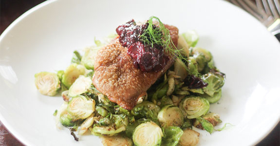 Roasted Duck With Cherry Sauce, Brussels Sprouts, and Fennel