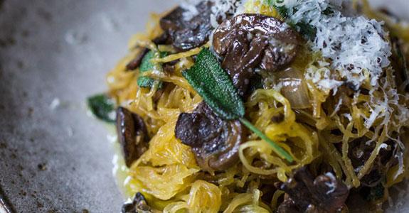 Roasted Spaghetti Squahs With Mushrooms, Garlic, and Sage