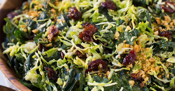 Shredded Brussel Sprout and Kale Salad With Maple Pecan Parmesa