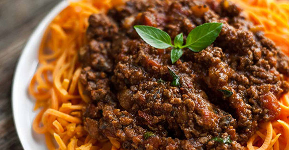 Slow Cooked Bolognese Sauce With Sweet Potato Spaghetti