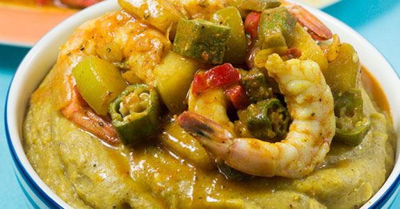 Sweet Okra Shrimp Curry With Plantain Puree