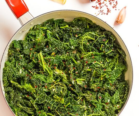 Super healthy kale mixed with the classic flavor combo of garlic, lemon, and hot pepper – this Sautéed Garlic Kale can't be beat!